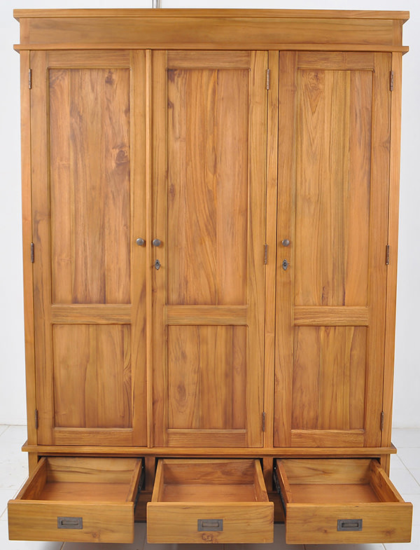 solid teak wardrobe with natural finishing