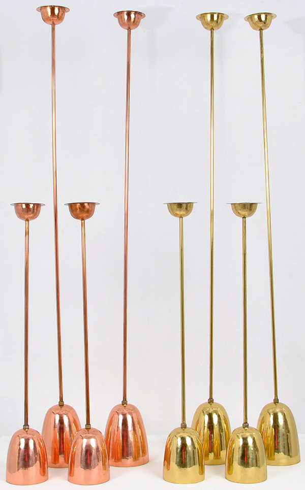 gold and copper lamps