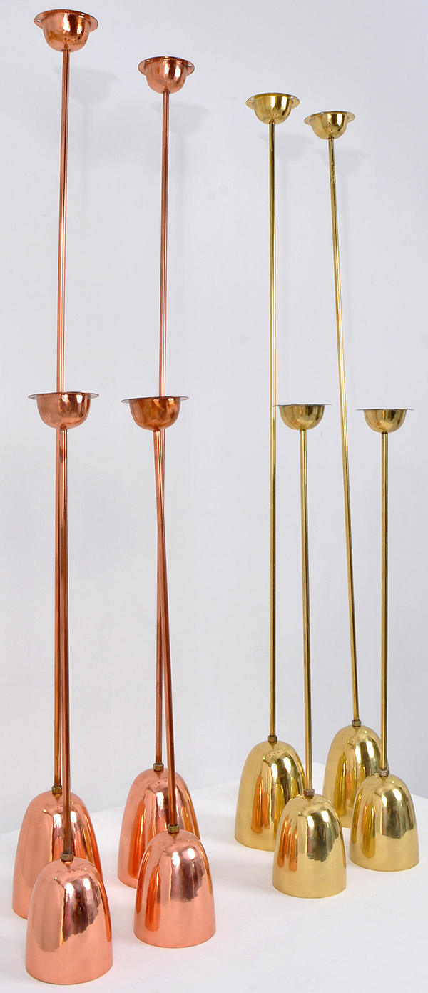 set of copper hanging lamps in golden and red natural finish