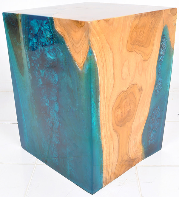 suar and resin square stool