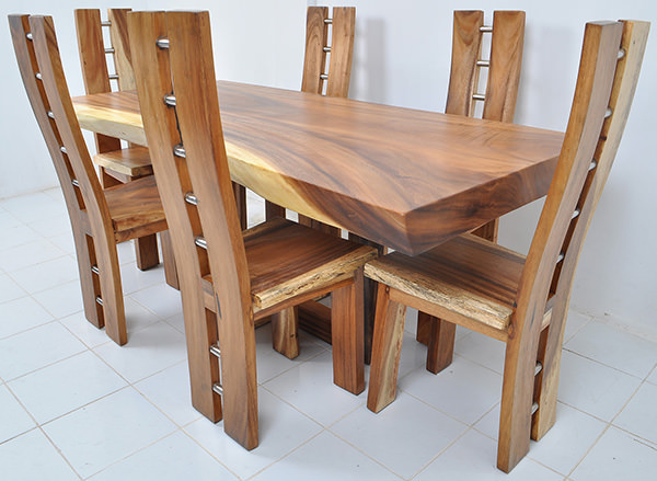 trembesi wooden dining table and chairs