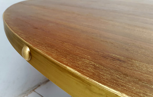 gold washed wood and brass