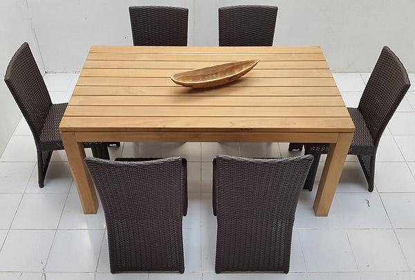 garden teak wood table and wicker seats set