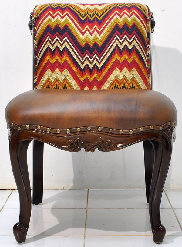 Peruvian fabric and brown leather