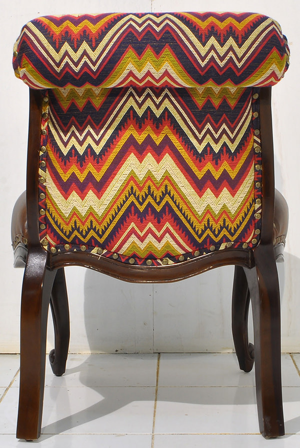 Peruvian fabric and vintage brown leather comfort seat with antique pins