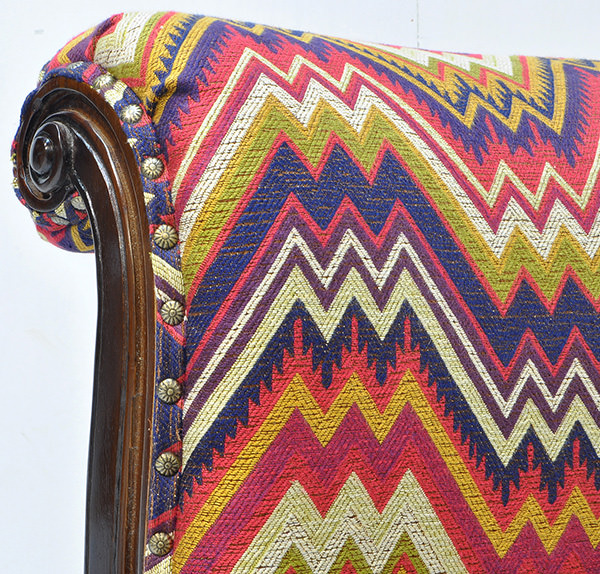 carved teak wood and Peruvian fabric