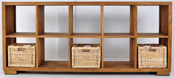teak book rack with natural rattan baskets