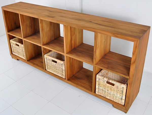 wooden bookrack with rattan baskets