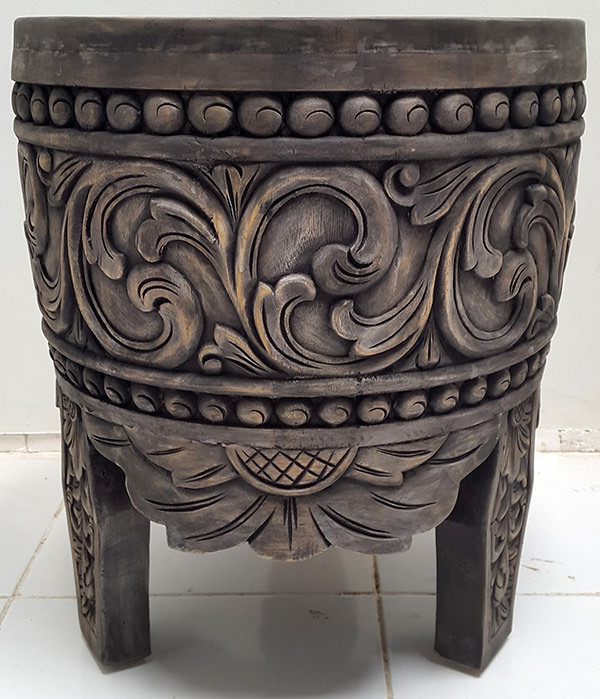 handmade carved teak stool