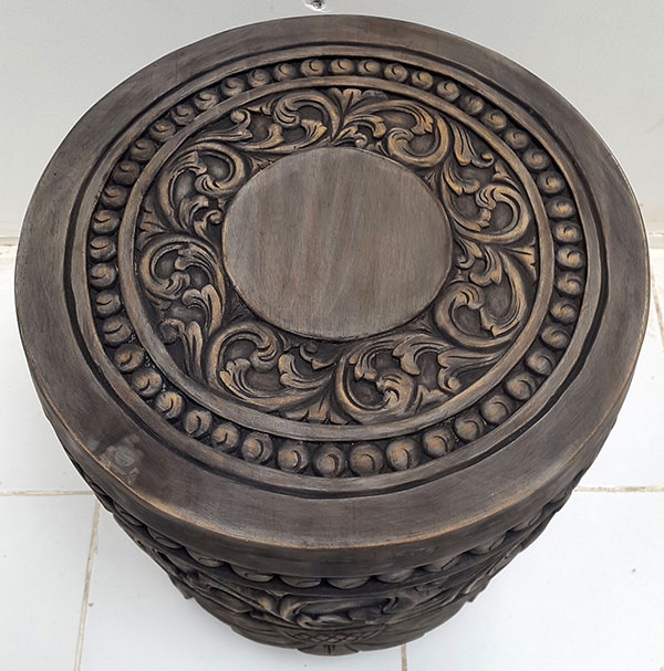 handmade tribal carved teak stool with dark finish