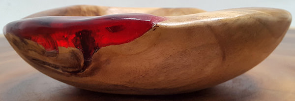 teak and red resin fruit bowl