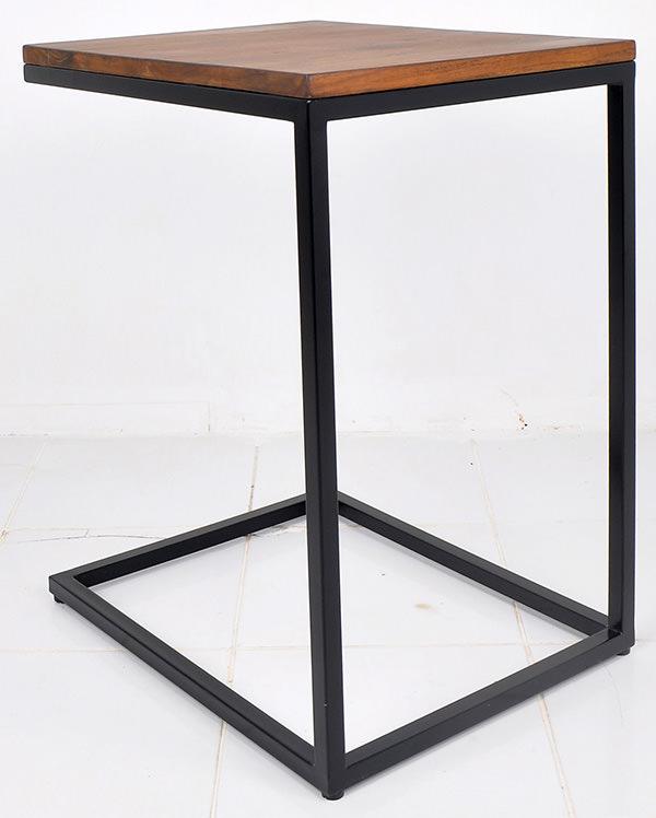 black iron and teak table
