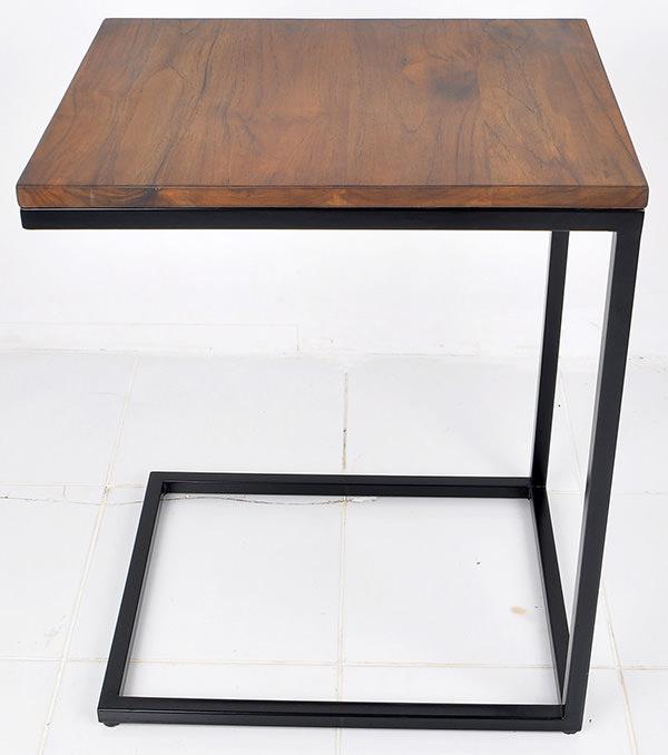 black iron and teak square table