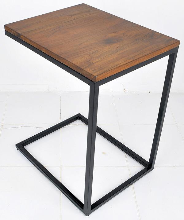 black iron and natural teak square table