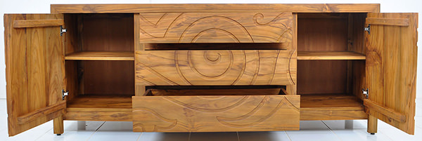 teak cabinet with natural stain and matte coating