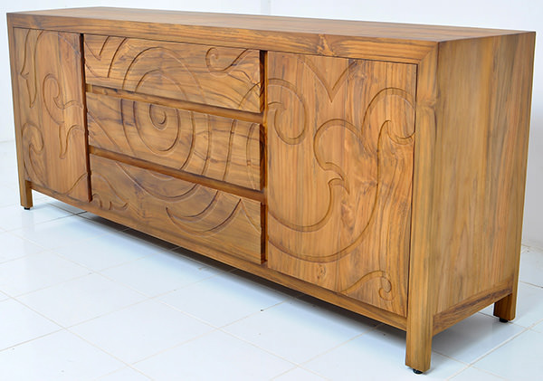 traditional teak wood sideboard