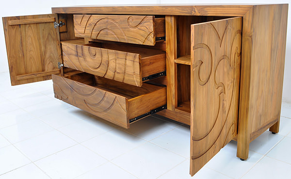 traditional teak wood sideboard with 2 doors
