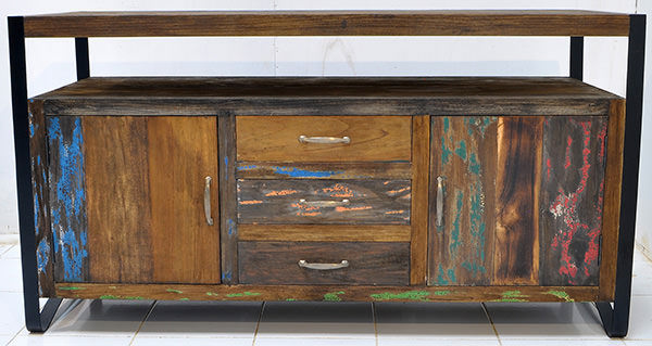 teak and iron antique cabinet