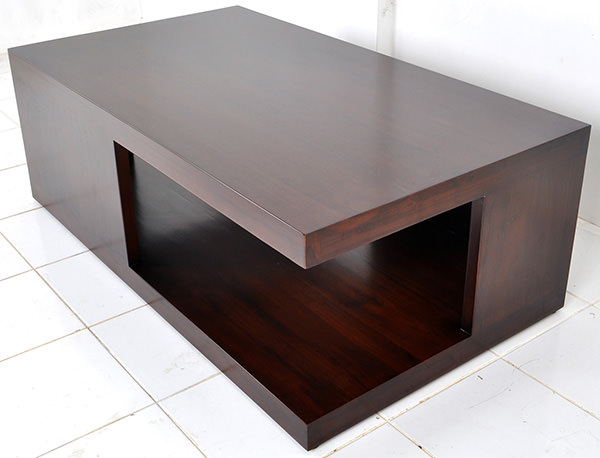 Danish wooden coffee table with brown stain