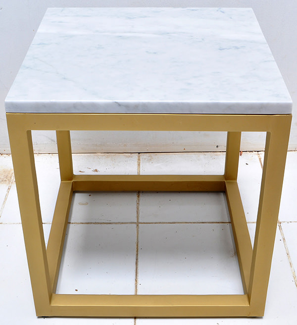 White marble and golden brass table