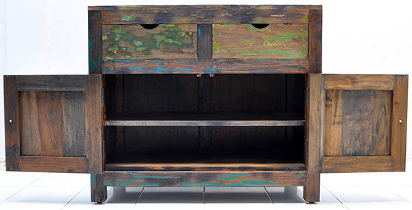 teak and iron antique buffet with solid recycled paint finish