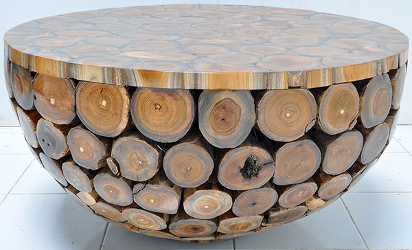 indoor teak round coffee table