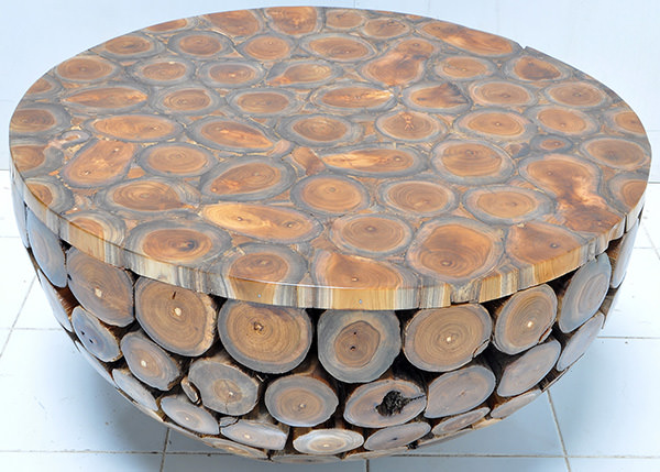 indoor teak round coffee table with resin