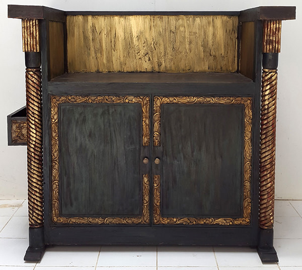 vintage restaurant reception desk