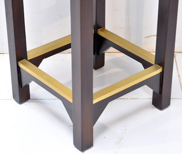 bar stool with brass fittings