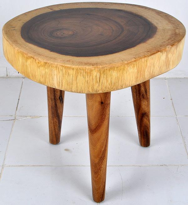 round monkeypod coffee table
