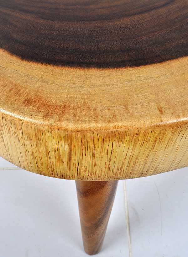 round monkeypod coffee table with natural edges
