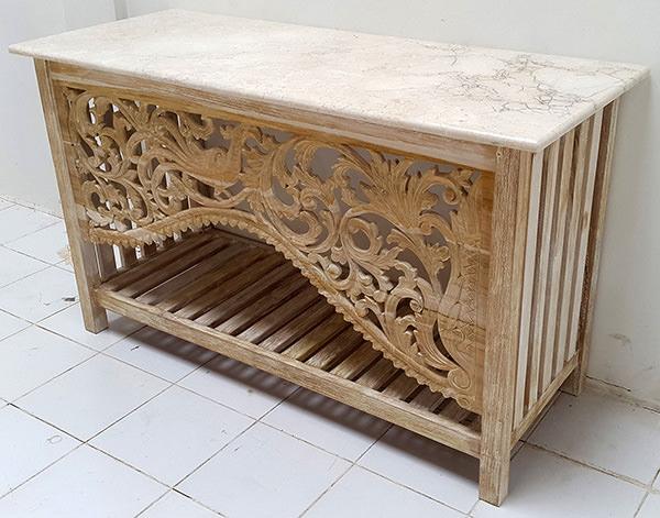 teak wooden vanity cabinet