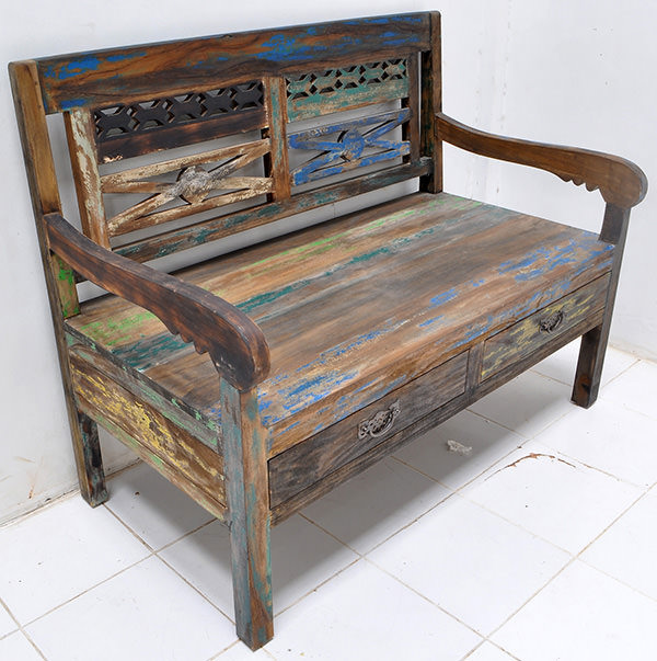 teak bench with boat wood finish