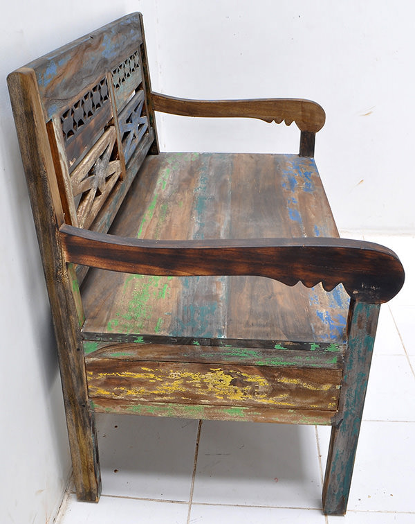 teak bench with painted boat wood finish