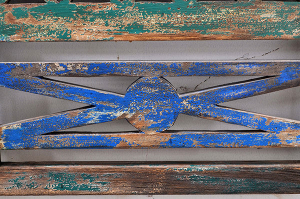 solid blue and green paint antique wood finishing