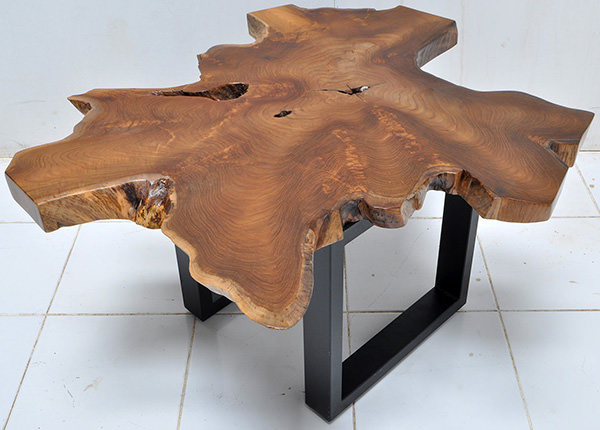 teak table top with a natural shape