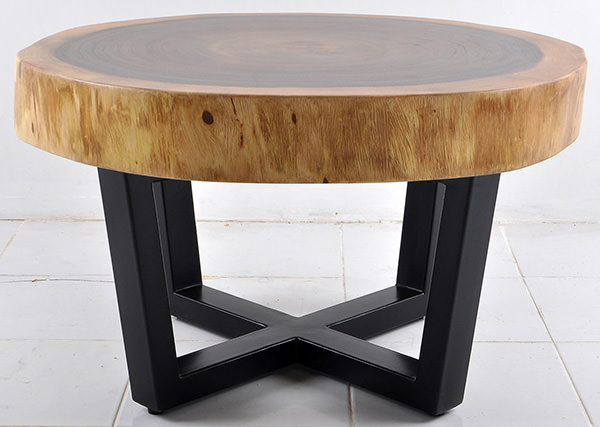 round monkey pod table