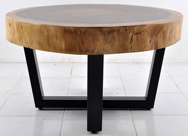 round monkey pod table with iron legs with X shape