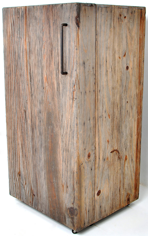 antique wooden fridge with dirty finish
