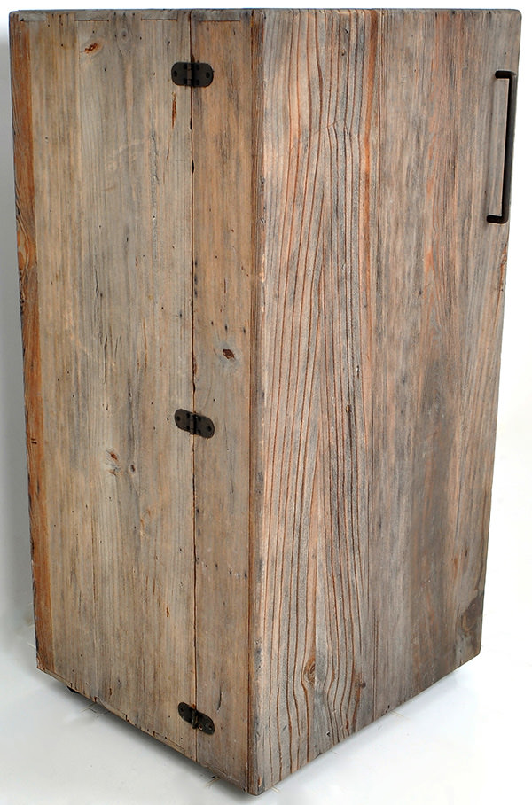 antique wooden fridge with reclaimed finish