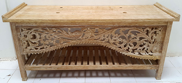 tribal carving vanity cabinet