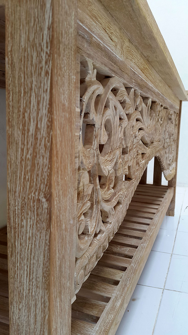 teak white washed carving