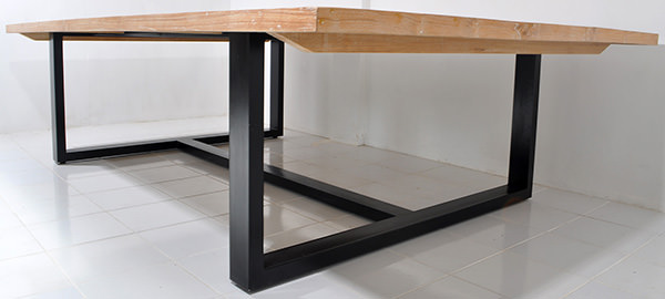 natural wooden table with square black iron legs