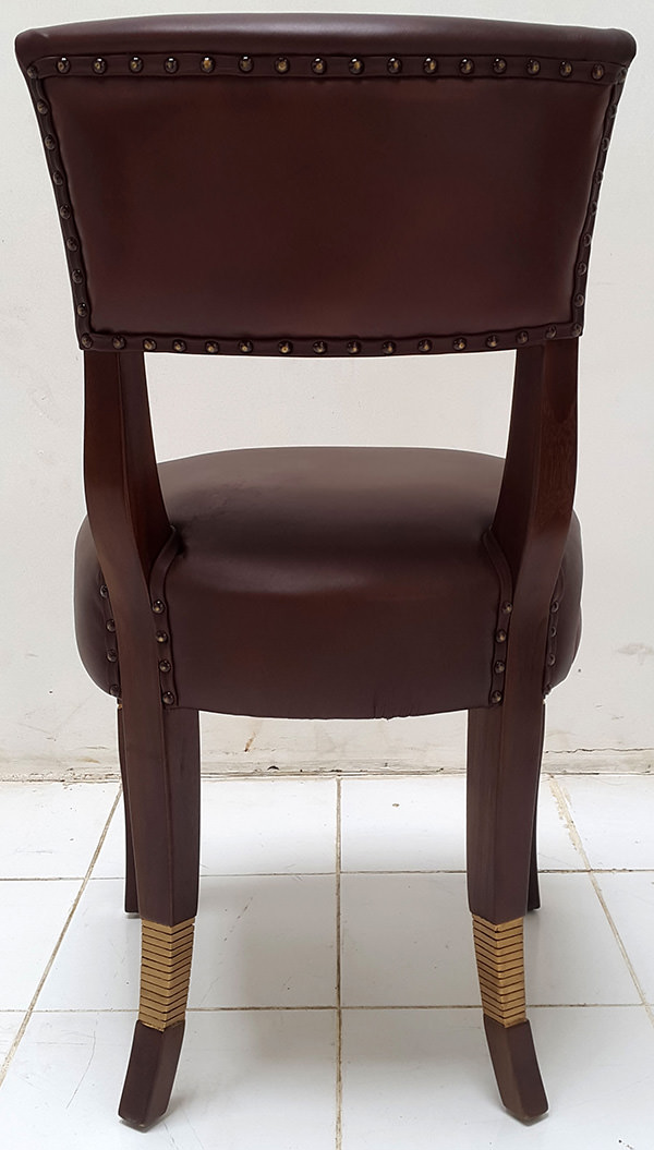 coya restaurant leather dining chair