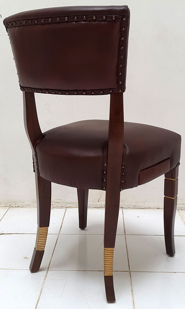 coya restaurant leather dining chair with side drawer