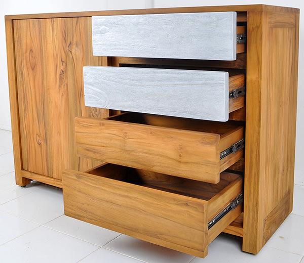 teak Danish dresser with painted drawers