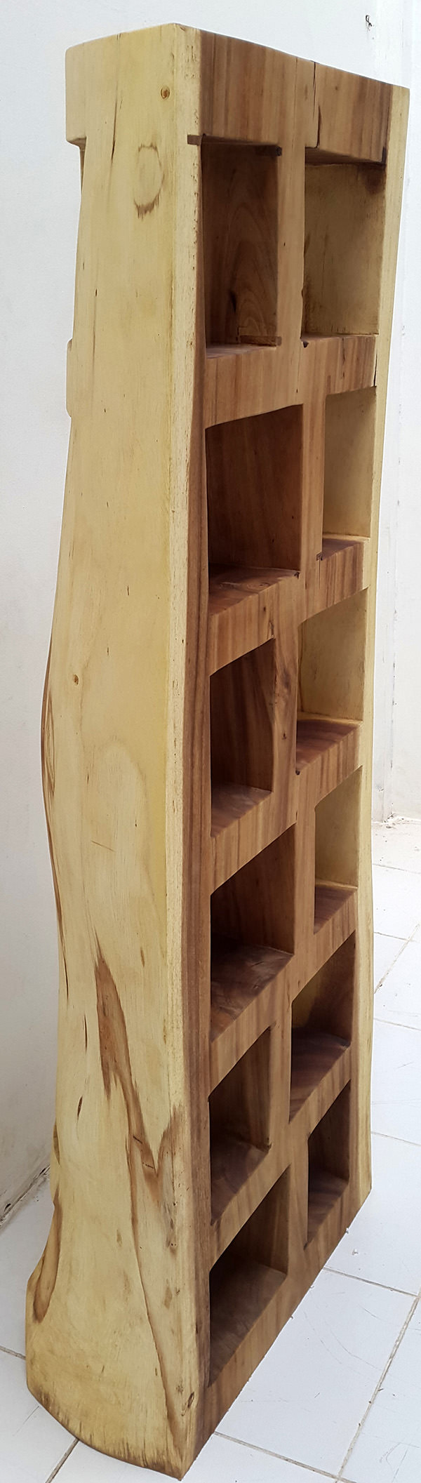 rain tree solid wooden bookcase with organic shapes