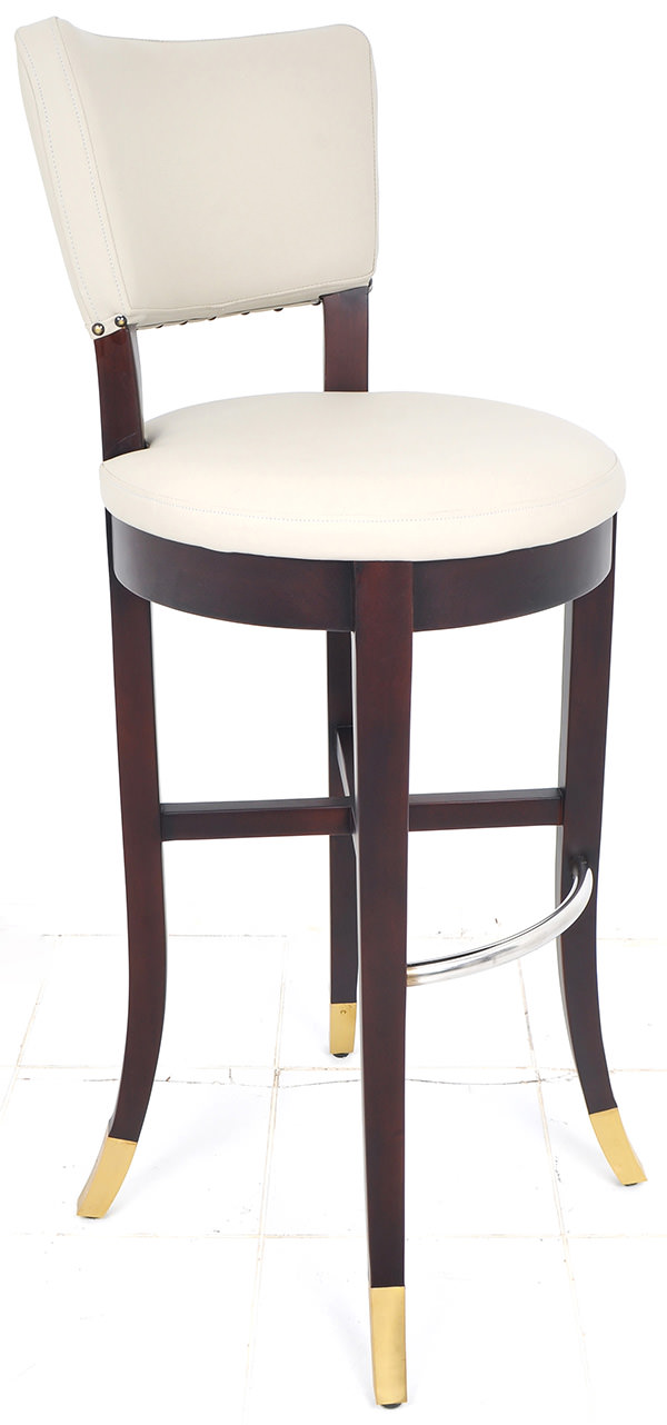 french mahogany, leather and steel bar chair