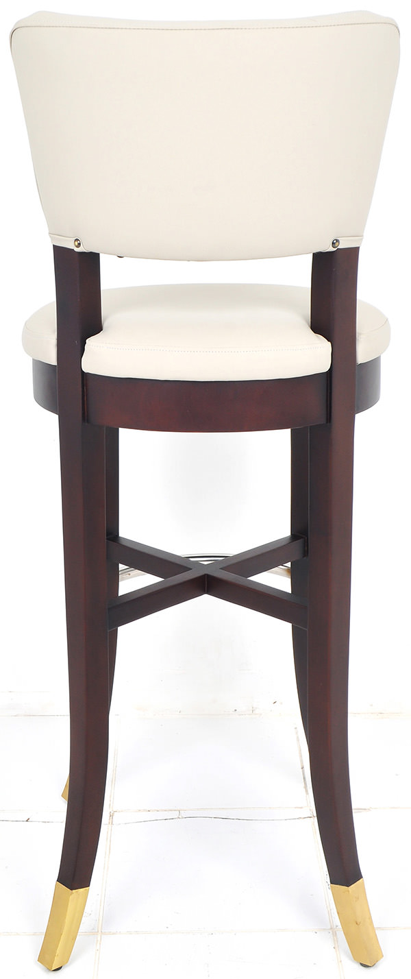 french mahogany, leather, golden brass and stainless steel bar chair