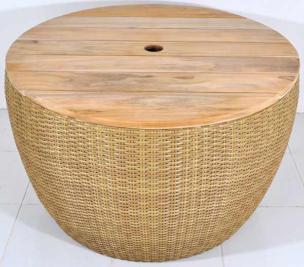 drum synthetic rattan table